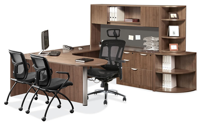 Os Laminate Series U Shaped Desk With Peninsula And Upper Lower Corner Bookcase