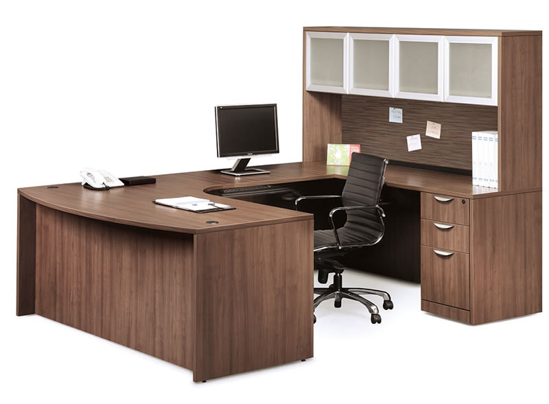 OS Laminate Series U Shaped Desk with Bow Front and Overhead Hutch with 4 Glass Doors