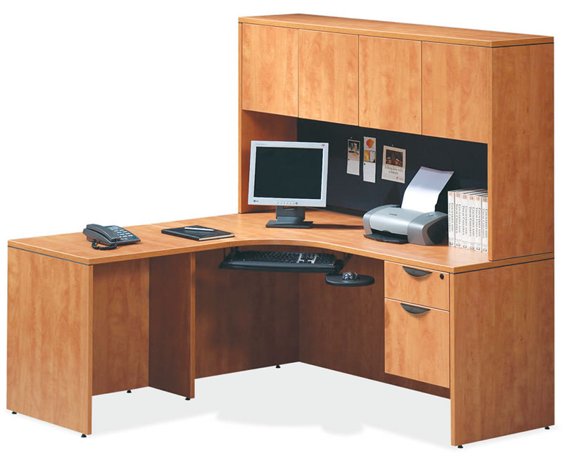 OS Laminate Series L Shaped Desk with Hutch