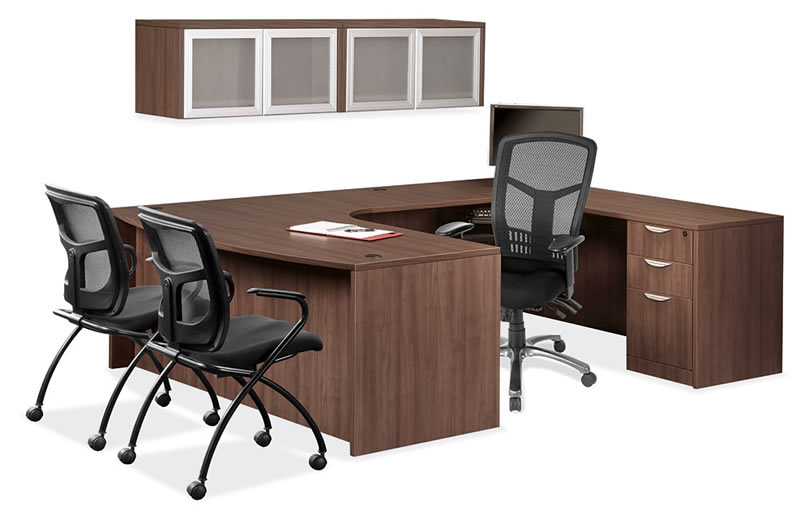 OS Laminate Series U Shaped Desk with Bow Front and 2 Wall Hutches