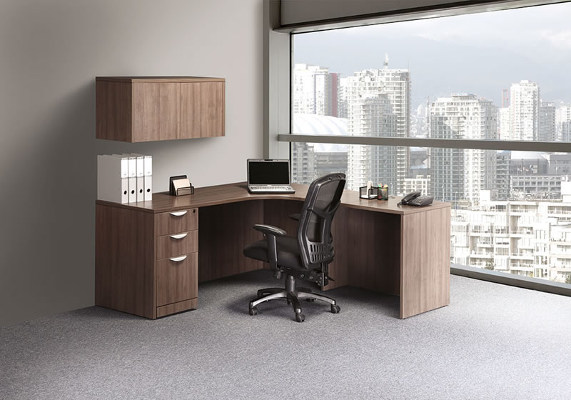 "OS Laminate Series L Shaped Desk with Reversible Return and 36"" Wall Cabinet"