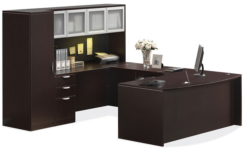 os laminate series u shaped desk with hutch and personal cabinet