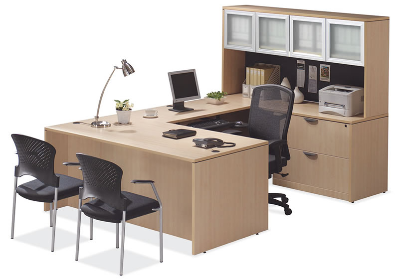 Os Laminate Series U Shaped Desk With Two Drawer Lateral File And Hutch