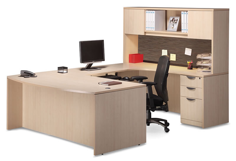 OS Laminate Series U Shaped Desk With Hutch And Tackboard Visconti