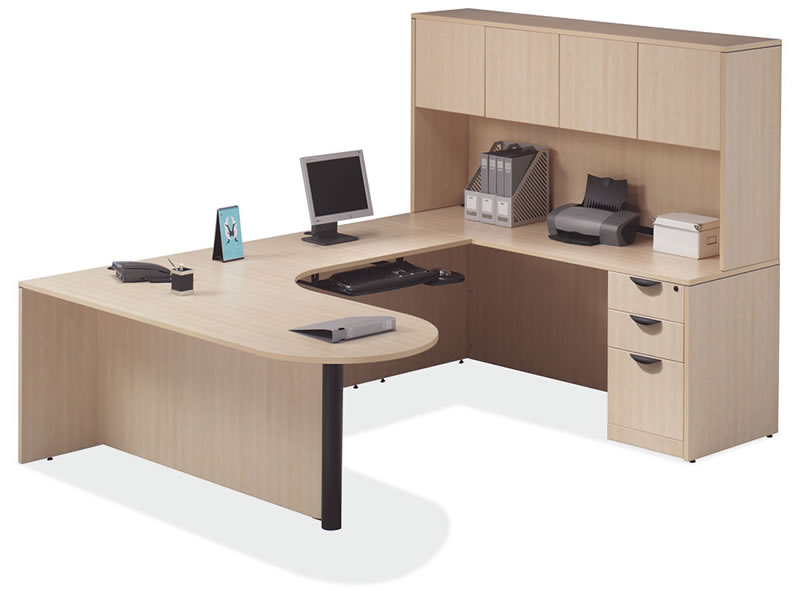 OS Laminate Series U Shaped Desk with Laminate Panel Door Hutch