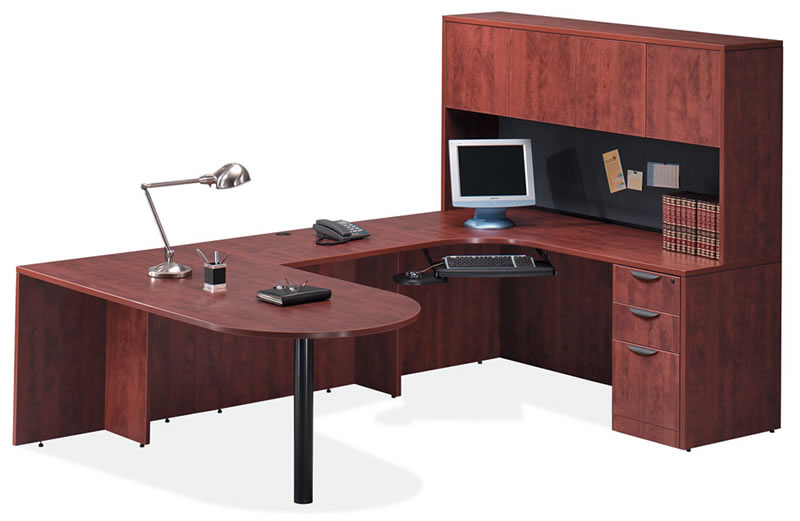 OS Laminate Series U Desk with Hutch and Peninsula