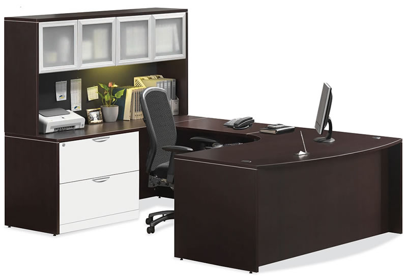 OS Laminate Series U Desk with Hutch and Bowfront
