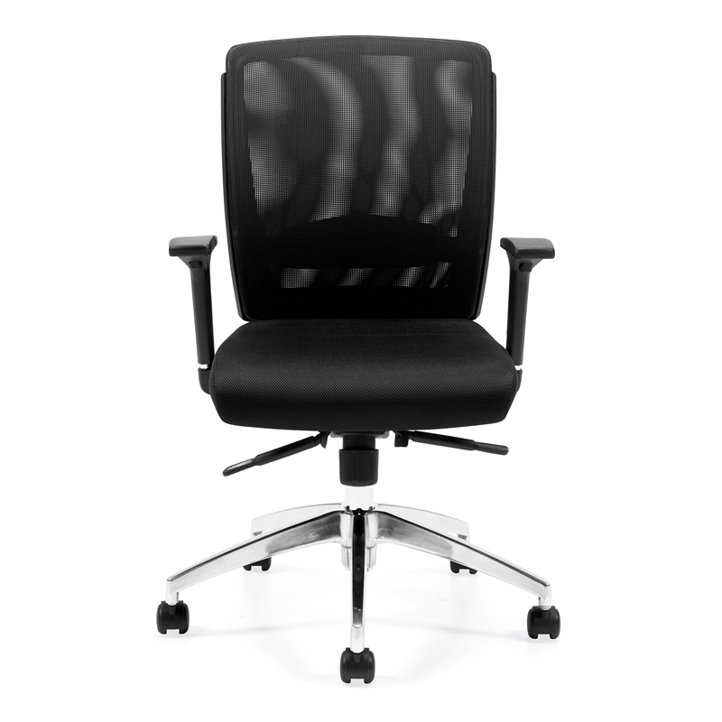 Offices To Go Mesh MId Back Mesh Office Chair w / Polished Aluminum
