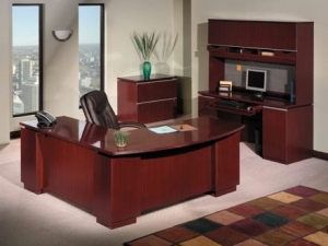 "Bush Milano2 Series Office Desk Bundle w/ 72"" Double Pedestal L-Shaped Desk"