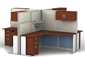 Bush Office-In-An-Hour Four Desk Workstation w/ Four Pedestal Files