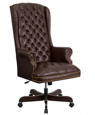 BTOD High Back Tufted Leather Traditional Office Chair 3 Leather Colors