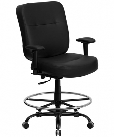 BTOD Heavy Duty Leather Drafting Chair Seat Height 24 - 29''H Rated For 400 lbs.