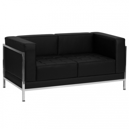 BTOD Imagination Series Black Leather Love Seat With Steel Legs