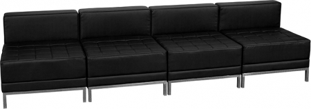 BTOD Imagination Series Four Seat Black Leather Reception Set Steel Legs