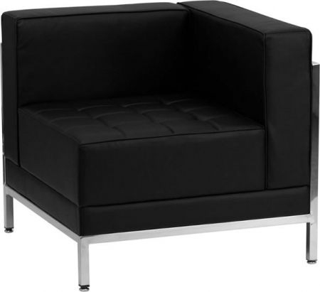 BTOD Imagination Series Right Corner Section Black Leather Lounge Chair