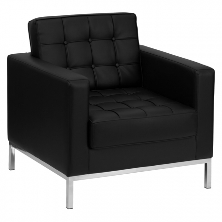 BTOD Lacey Series Tufted Leather Lounge Chair Steel Base