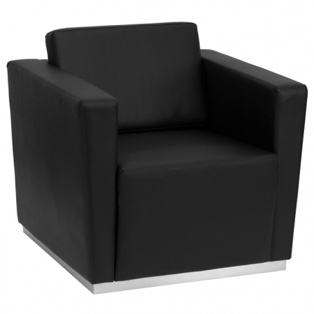 BTOD Trinity Series Black Leather Lounge Chair Stainless Steel Base