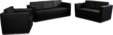BTOD Trinity Series Black Leather Reception Area Set