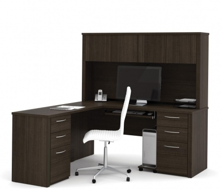 Bestar Embassy L Shaped Office Desk with Hutch