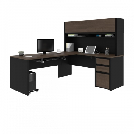 Bestar Connexion L Shaped Office Desk with Hutch 2 Color Options