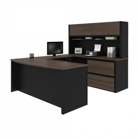 Bestar Connexion U Shaped Office Desk with Hutch
