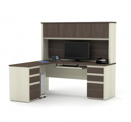 Bestar Prestige+ L Shaped Desk with Hutch 3 Color Options