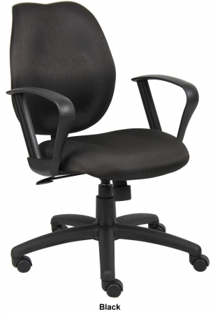 Boss Fabric Ratchet Back Task Chair with Loop Arms (BS-B1015)
