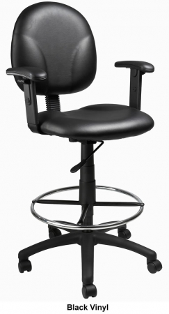 "Boss Multi Function Drafting Stool with Footring - Seat Height 26.5"" - 31.5"""