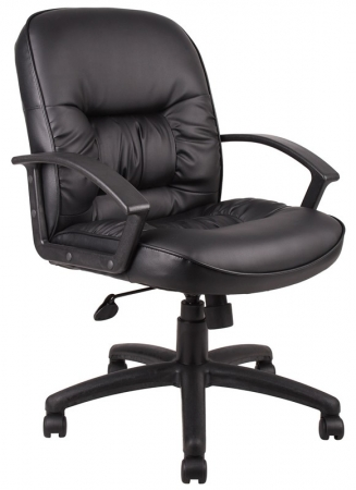 Boss Mid Back Leather Task Chair Fixed Arms