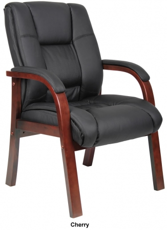 Boss CaressoftPlus Guest Chair w/ Optional Cherry or Mahogany Finish