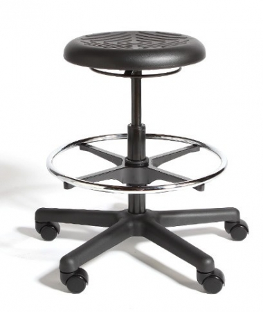 Cramer Rhino Hand Activated Height Adjustable Round Stool Urethane Seat - Seat Adjustment Options Up to 32""