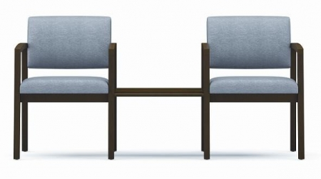 Lesro Lenox Series 2 Guest Reception Chairs w/ Matching Wood Connecting Center Table (LS-L2112G5)