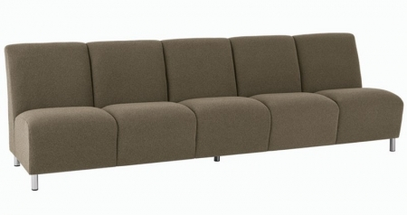 Lesro Ravenna Series Five Seat Armless Sofa With Optional Steel or Wood Legs