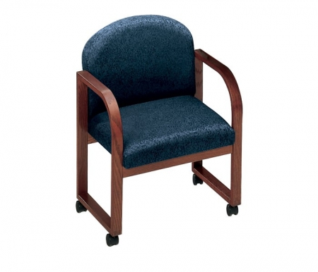 Lesro Contour Series Round Back  Guest Chair w/ Casters Sled Base (LS-R1301C3)