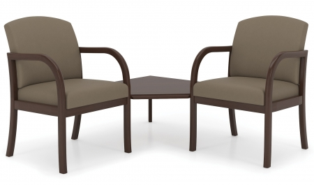Lesro Weston Series 2 Seat Reception Chairs w/ Connecting Corner Table (LS-W2321G5)
