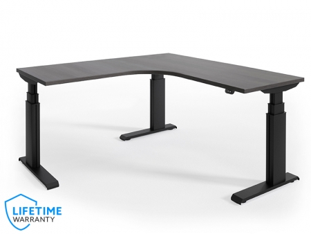 "NewHeights� Elegante XT Corner Height Adjustable Desk - 24"" to 51"" Adjustment Range - 485 lbs Capacity  **Made in the USA**"