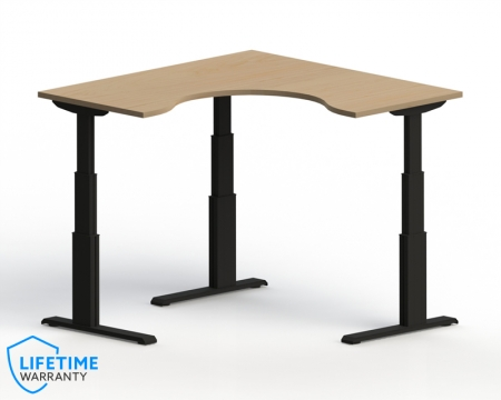 "NewHeights� Elegante XT Corner Cockpit Adjustable Height Desk - 24"" to 51"" Adjustment Range - 485 lbs Capacity **Made in the USA**"