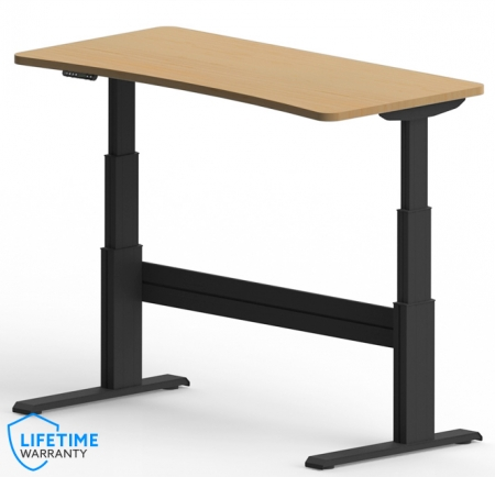 "NewHeights� Elegante XT Bow Front Sit Stand Desk - 24"" to 51"" Adjustment Range - 325 lbs Capacity **Made in the USA**"