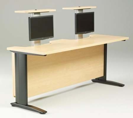 R-Style� HV Series Computer Table With 2 Pop Up Monitor Arms