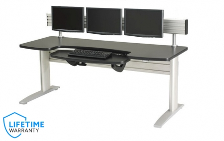 NewHeights� Elegante XT Boat Shaped Electric Sit to Stand Desk - Adjustable Keyboard Platform and Triple Monitor Arm Mount System **Made in the USA**