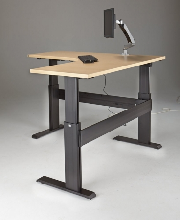 "NewHeights� Eficiente LT Series L Shaped Electric Sit Stand Desk - 27"" to 47"" Adjustment Range - 375 lbs Capacity **Made in the USA**"