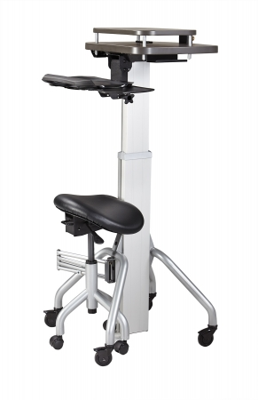 VerSIT� Laptop Cart with Adjustable Saddle Seat aka Computer on Wheels COW
