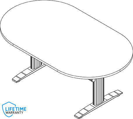 "NewHeights™ Oval Shaped Elegante XT Adjustable Conference Table - 24"" to 51"" Adjustment Range - 325 lbs Capacity **Made in the USA**"
