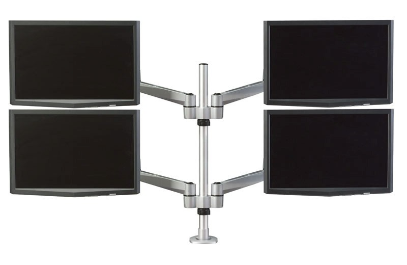 RightAngle Hover™ 2 Series Post Mount Quadruple Monitor Arm Dual Extension Arms