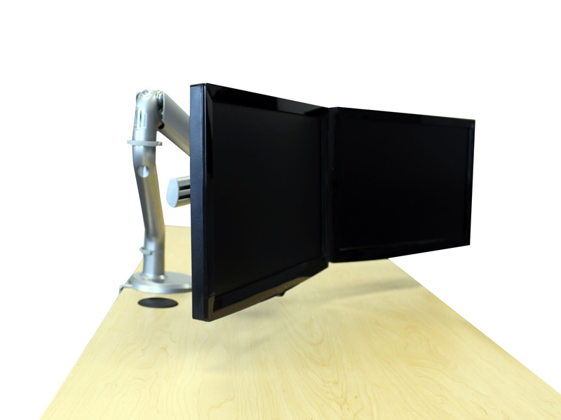 RightAngle Hover Gas Dual Monitor Arms - Silver or White