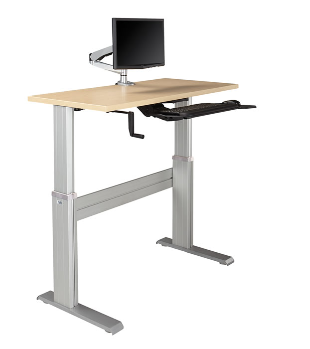 Bon NewHeights Levante Ultra Fast Manual Crank Height Adjustable Desk 28u201d To  47u201d Adjustment Range   150lbs Capacity **Made In The USA**