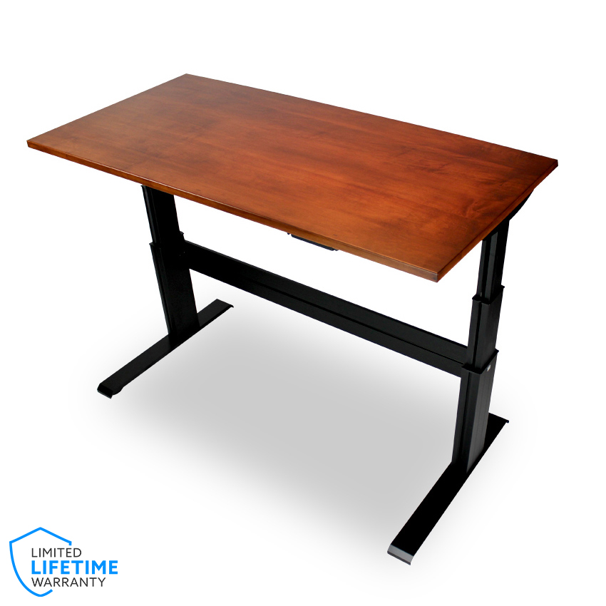 newheights solid wood elegante xt electric sit stand desk handcrafted maple desktop