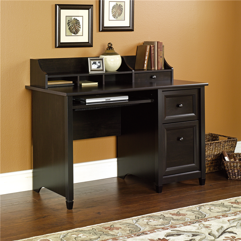 Sauder Edge Water Computer Desk W Slide Out Keyboard Shelf Black Finish