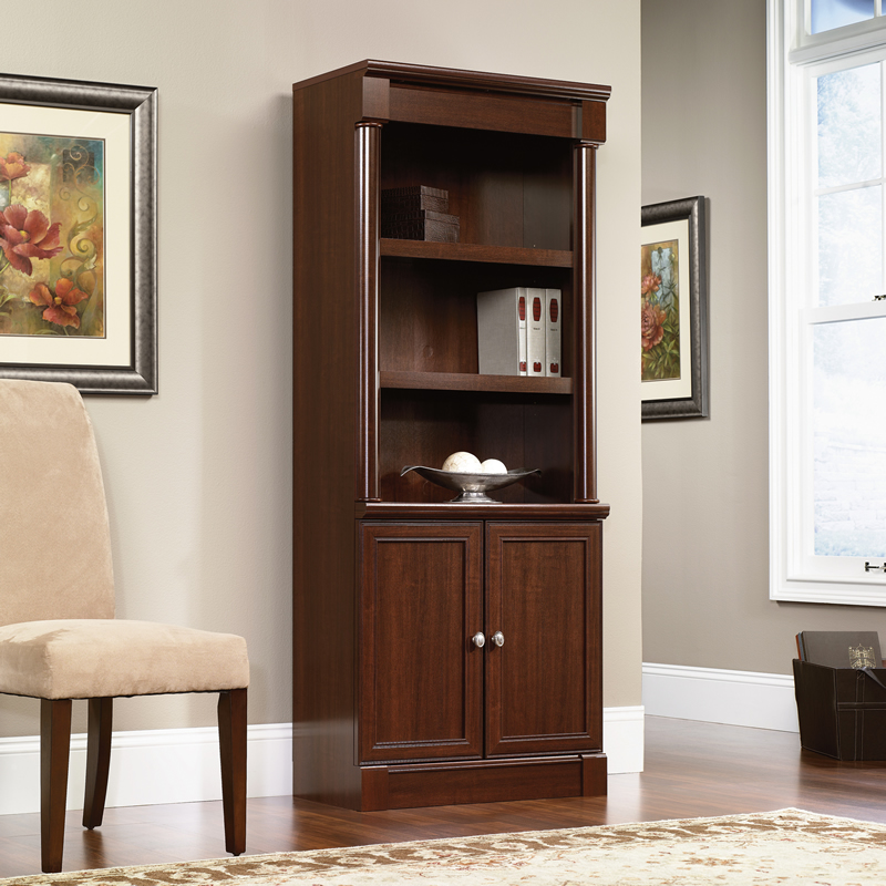 Sauder Palladia Library With Doors Cherry Finish