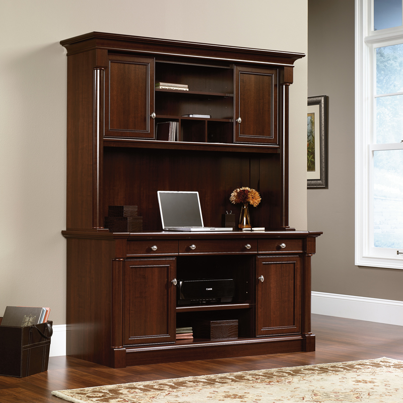 Sauder Palladia Computer Credenza And Overhead Hutch With Sliding Desktop